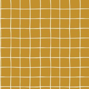 Tela de felpa amarillo mostaza con cuadros blancos