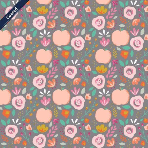 tela laminada frutas y flores