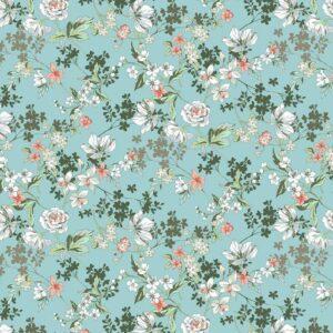 Viscosa turquesa de flores
