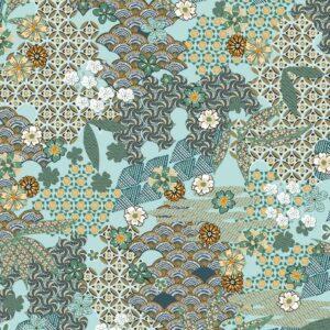 Viscosa turquesa estampado de kimono