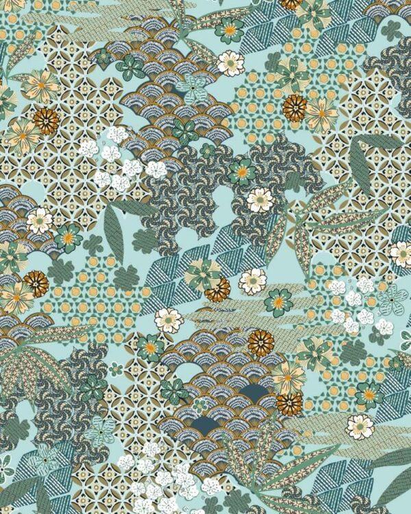 Tela de viscosa estampado kimono japonés con flores en turquesa,
