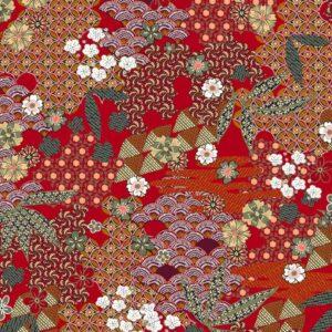 Viscosa rojo teja estampado kimono
