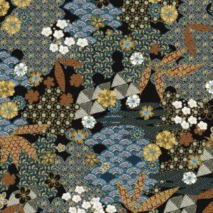 Viscosa negra estampado kimono