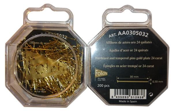 alfileres de oro 24k