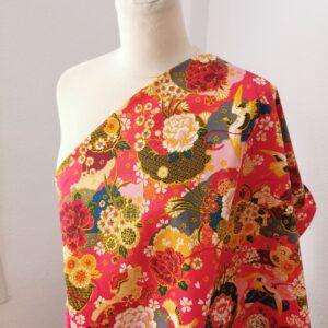 Tela japonesa kimono coral