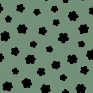 Sudadera orgánica verde flores negras