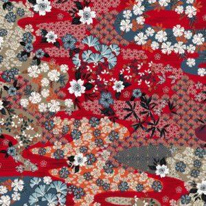 Viscosa roja estampado kimono