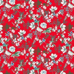Viscosa roja de flores blancas