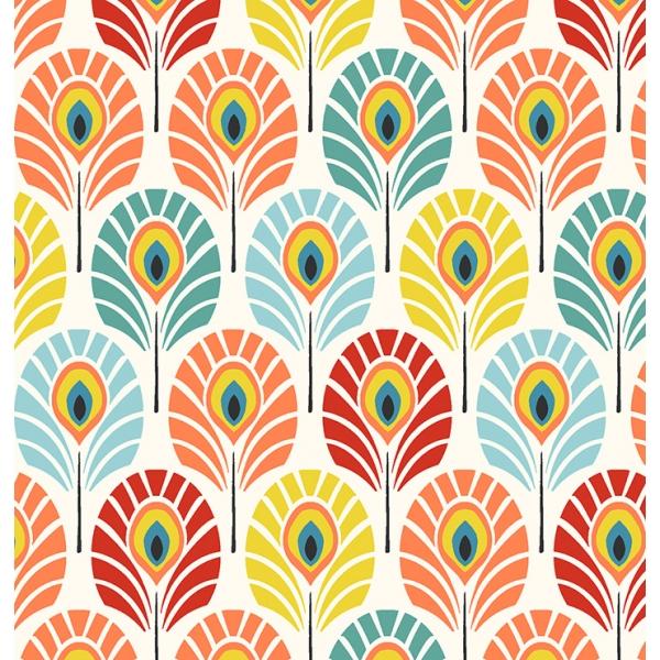 tela plumas multicolor