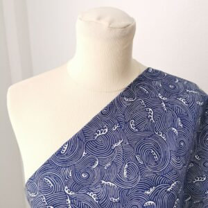 Tela de kimono olas azules