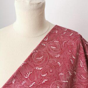 Tela de kimono olas rojas