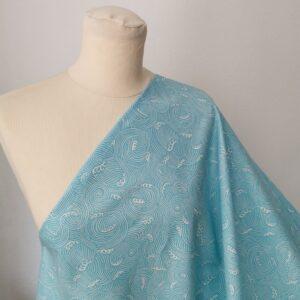 Tela de kimono olas turquesas
