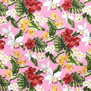 Tela hawaiiana rosa flores y hojas