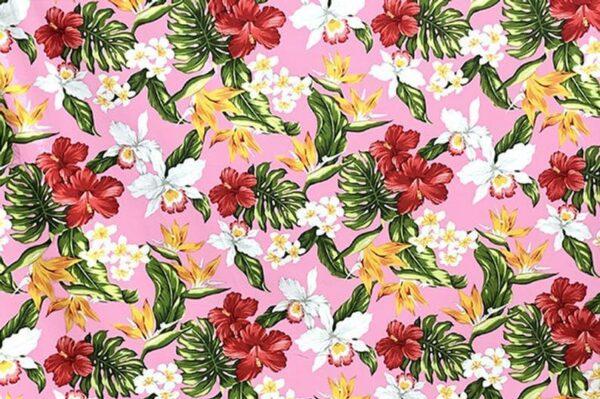 Tela hawaiiana rosa palmeras