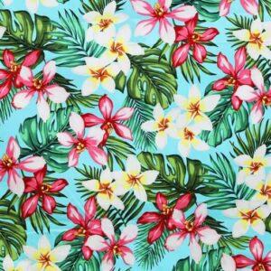 Tela hawaiiana turquesa flores