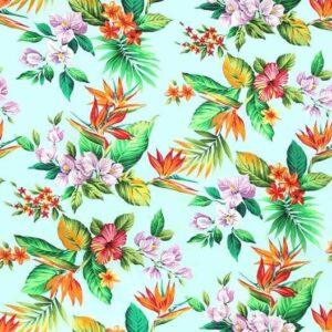Tela hawaiiana celeste flores