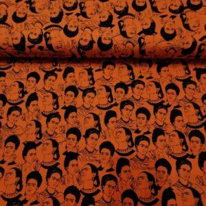 Tela naranja estampado Frida