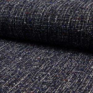 Tweed azul marino y blanco