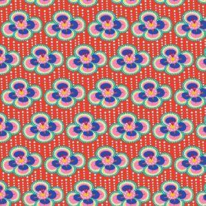 Algodón rojo con flores moradas