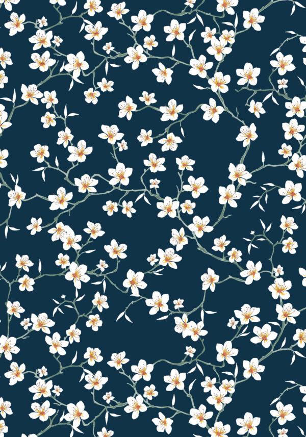 flor de cerezo azul marino