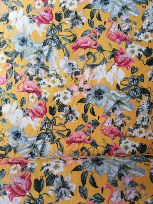algodón mostaza flamencos y flores
