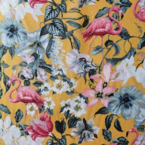 Algodón mostaza flores y flamencos