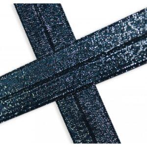 Bies elástico de lúrex azul marino