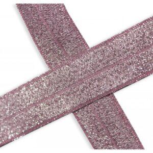 Bies elástico de lúrex rosa viejo