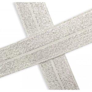 Bies elástico de lúrex blanco roto