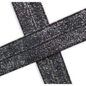 Bies elástico de lúrex negro