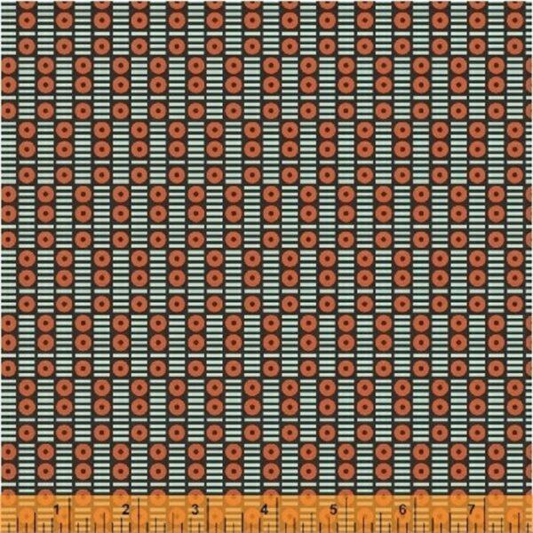 Algodón negro y rojo geométrico