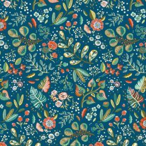 Algodón azul flores y plantas