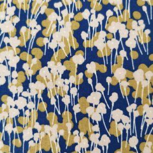 Algodón azul marino flores