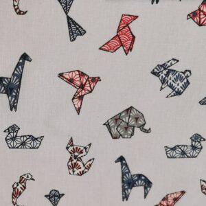 Algodón blanco estampado origami