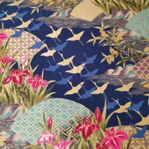 Kimono azul marino y dorado con iris
